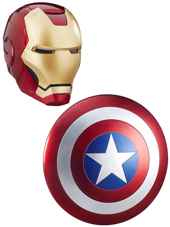 Marvel Legends Iron Man Helmet & Captain America Shield